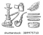 set of vintage smoking tobacco... | Shutterstock .eps vector #389975710