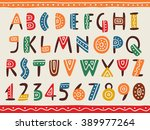 tribal ethnic bright alphabet... | Shutterstock .eps vector #389977264