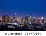los angeles skyline at twilight | Shutterstock . vector #389977954