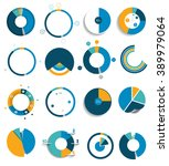 big set of round  circle chart  ... | Shutterstock .eps vector #389979064
