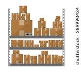 metallic shelves with cartoon...   Shutterstock .eps vector #389990434