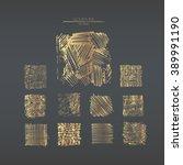 vector set of golden grungy... | Shutterstock .eps vector #389991190