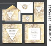 set of gold and white wedding... | Shutterstock .eps vector #389992618