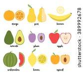 cute set with cartoon lemon ... | Shutterstock .eps vector #389992678