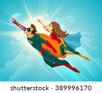 super heroes couple man and... | Shutterstock .eps vector #389996170