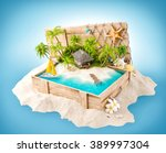 fantastic tropical island with... | Shutterstock . vector #389997304