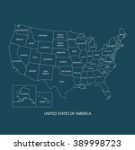 usa map with name of countries... | Shutterstock .eps vector #389998723
