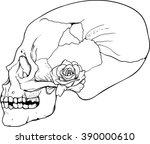 side look human skull with... | Shutterstock .eps vector #390000610