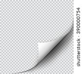 page curl with shadow on blank... | Shutterstock .eps vector #390000754