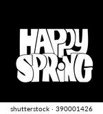 happy spring.fun quote... | Shutterstock .eps vector #390001426