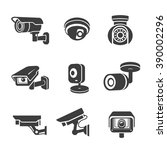 Video surveillance security cameras graphic icon pictograms set - stock vector