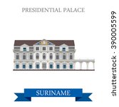 presidential palace in suriname.... | Shutterstock .eps vector #390005599