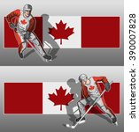 hockey player on canada flag... | Shutterstock .eps vector #390007828