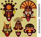 african masks vector set.  | Shutterstock .eps vector #390008494