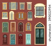 vintage doors. detailed windows.... | Shutterstock .eps vector #390022954