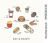 set of junk food contour icons... | Shutterstock .eps vector #390030130