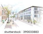 old town pedestrian street...   Shutterstock . vector #390033883