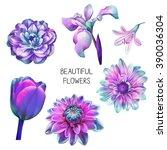 illustration of beautiful blue  ... | Shutterstock . vector #390036304
