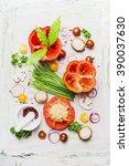 fresh paprika vegetables and...   Shutterstock . vector #390037630