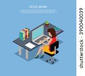 isometric woman office work... | Shutterstock .eps vector #390040039