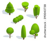 set isometric trees forest 3d ... | Shutterstock .eps vector #390043738