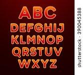 neon light alphabet font.... | Shutterstock .eps vector #390045388
