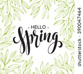 words spring with wreath ... | Shutterstock .eps vector #390047464