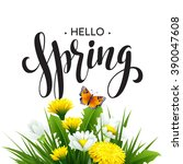 inscription spring time on... | Shutterstock .eps vector #390047608
