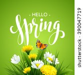 Stock vector inscription spring time on background with spring flowers 390047719