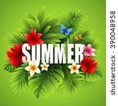 summer tropical background of... | Shutterstock .eps vector #390048958