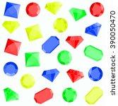 vector set of colorful diamonds.... | Shutterstock .eps vector #390050470