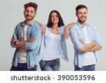 beautiful young people in jeans ... | Shutterstock . vector #390053596