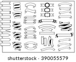 black and white ribbon set | Shutterstock .eps vector #390055579