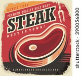 steak house retro poster design ... | Shutterstock .eps vector #390056800
