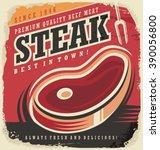 steak house retro poster design ... | Shutterstock .eps vector #390056800