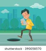 smartphone addiction. vector... | Shutterstock .eps vector #390058570