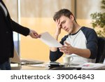worried intern receiving a... | Shutterstock . vector #390064843
