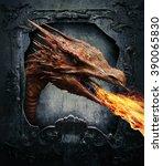 dragon on a vintage frame | Shutterstock . vector #390065830