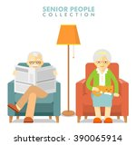 social concept   old people... | Shutterstock .eps vector #390065914