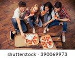 top view of young people in... | Shutterstock . vector #390069973