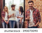 young people in casual clothes... | Shutterstock . vector #390070090