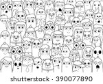 coloring page   doodle people... | Shutterstock .eps vector #390077890