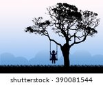 child silhouette sitting on a... | Shutterstock .eps vector #390081544