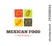 vector colorful mexican food... | Shutterstock .eps vector #390088066