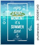 summer time poster with sea... | Shutterstock .eps vector #390089140
