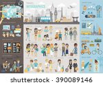 travel infographic set with... | Shutterstock .eps vector #390089146