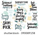 Summer Lettering Design Set - hand drawn Vector illustration. | Shutterstock vector #390089158