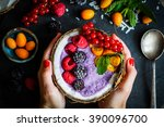 berry smoothie with berries in... | Shutterstock . vector #390096700