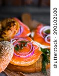 bagels with cream cheese and... | Shutterstock . vector #390102100