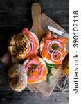 bagels with cream cheese and... | Shutterstock . vector #390102118